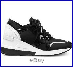 NIB Size 5 Michael Kors Liv Trainer Sneaker Black White Leather RARE