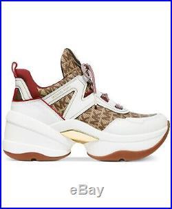 NIB Size 5 Michael Kors Olympia Trainer Logo Dad Sneakers Beige Ebony WB