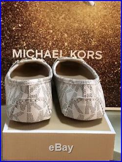 NIB Size 6.5 MICHAEL KORS Vanilla MK Logo Signature Fulton Moccasins Flat PVC