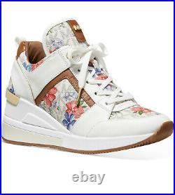 NIB Size 6.5 Michael Kors GEORGIE Trainer Vanilla Flower Print Sneakers Shoes
