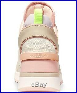NIB Size 6.5 Michael Kors Georgie Trainer Mesh Sneakers Shoes Cream Multi Pink