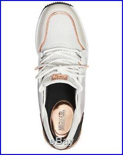 NIB Size 6.5 Michael Kors Liv Trainer Mesh Sneakers Aluminum White Rose Gold