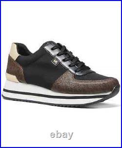 NIB Size 6.5 Michael Kors Monique Athletic Trainer Sneakers Shoes Brown Logo