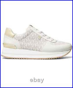 NIB Size 6.5 Michael Kors Monique Athletic Trainer Sneakers Shoes Cream Logo
