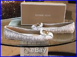 NIB Size 7.5 MICHAEL KORS Vanilla MK Logo Signature Fulton Moccasins Flat PVC