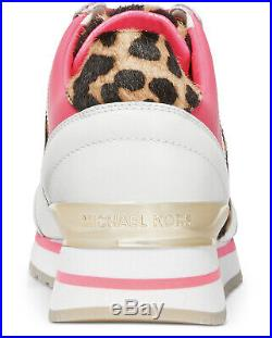 NIB Size 7.5 Michael Kors Billie Trainer Sneakers Shoes White Pink Cheetah