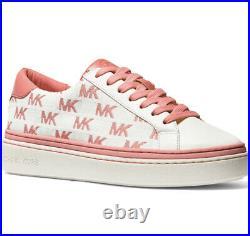 NIB Size 7.5 Michael Kors Chapman MK Logo Woman's Sneakers Shoes Tea Rose