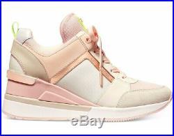 NIB Size 7.5 Michael Kors Georgie Trainer Mesh Sneakers Shoes Cream Multi Pink