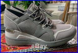 NIB Size 7.5 Michael Kors Premium Liv Trainer Sneakers Shoes Silver grey