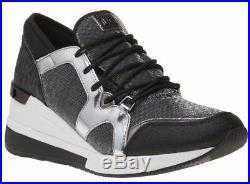 NIB Size 7.5 Michael Kors Scout Trainer wedge Sneakers Gunmetal Black