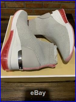 NIB Size 7.5 Michael Kors Skyler Extreme Sneaker Booties Aluminum Silver Pink