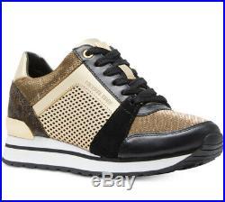 NIB Size 7 Michael Kors Billie Trainer Sneakers Shoes Black Gold