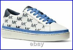 NIB Size 7 Michael Kors Chapman MK Logo Sneakers Athletic Shoes Blue Navy White