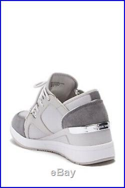 NIB Size 7 Michael Kors Liv Trainer Sneaker Aluminum Wedge $145 FM