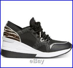 NIB Size 7 Michael Kors Liv Trainer Sneaker Black Gunmetal Calf-hair Wedge $155