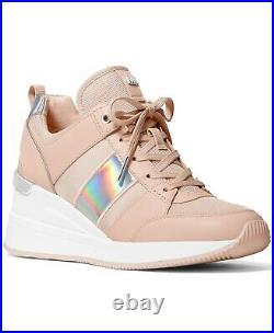NIB Size 8.5 Michael Kors GEORGIE Wedge Trainer Soft Pink Sneakers Shoes