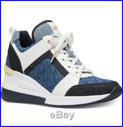 NIB Size 8.5 Michael Kors Georgie Trainer Denim Sneaker Shoe Denim Blue