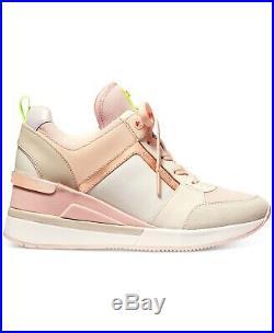 NIB Size 8.5 Michael Kors Georgie Trainer Mesh Sneakers Shoes Cream Multi Pink