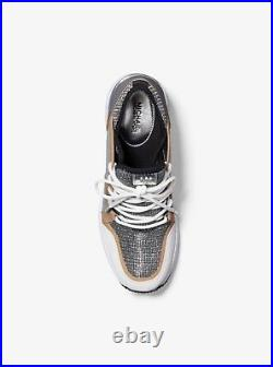 NIB Size 8.5 Michael Kors Liv Trainer Extreme Sneakers Shoes Silver Anthracite