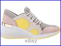 NIB Size 8.5 Michael Kors Premium Liv Trainer Mesh Sneakers Shoes Aluminum
