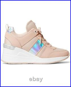 NIB Size 8 Michael Kors GEORGIE Wedge Trainer Soft Pink Sneakers Shoes