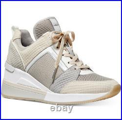 NIB Size 8 Michael Kors Georgie Trainer Mesh Sneakers Shoes Dove Grey Beige
