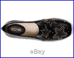 NIB Size 8 Michael Kors Hastings Leather Platform Espadrille Black Starry
