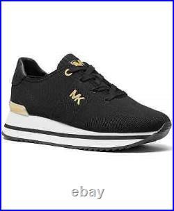 NIB Size 8 Michael Kors Monique Knit Running Trainer Sneakers Shoes Black