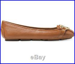 NIB Size 8 Wide Michael Kors Fulton MK Moc Luggage Tan Gold Leather Ballerina