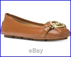 NIB Size 8 Wide Michael Kors Fulton Moc Luggage Tan Gold Leather Ballerina OM