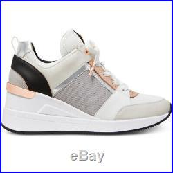 NIB Size 9.5 Michael Kors Georgie Trainer Mesh Sneaker Shoes Aluminum White Rose
