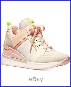 NIB Size 9.5 Michael Kors Georgie Trainer Mesh Sneakers Shoes Cream Multi Pink