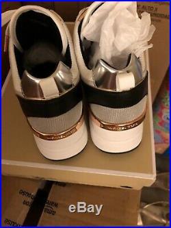 NIB Size 9,5 Michael Kors Women Georgie Trainer Mesh Sneakers Shoes Aluminum