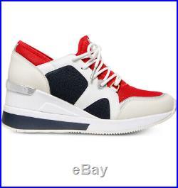 NIB Size 9 Michael Kors Liv Trainer Mesh Sneakers Shoes Red Navy White Multi