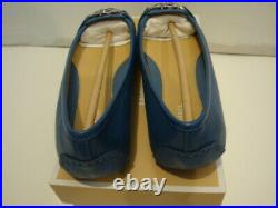NIB Women Michael Kors Fulton Moc Saffiano Leather Flat Shoes Blue size 8