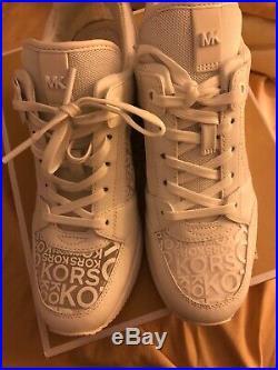 NIB Womens Michael Kors Georgie Trainer Mesh Sneakers Shoes White, Sz 8