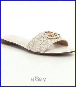 NWB MICHAEL Michael Kors'Molly' Slide Sandal Vanilla Logo Women's Size 8