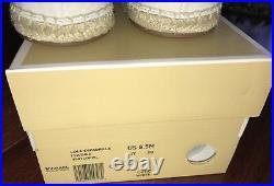 NWB Michael Kors LOLA Espadrille Floral Leather Optic White Flat Shoes sz 8.5