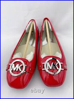 NWB Michael Kors Red shoes Leather flats with Gold MK Logo Fulton Moc US 6