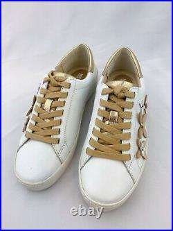 NWB Michael Kors Women's Shoes Lola Leather Sneaker Size 5.5 White/Gold Flower