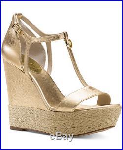 NWB WOMEN'S SIZE 9-M MICHAEL Michael Kors Kerri Wedge Sandal Pale Gold