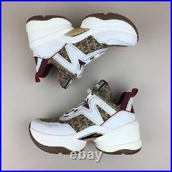 NWOB Michael Kors Olympia Trainer Dad Shoes Sneakers Beige Ebony Logo Size 7.5M