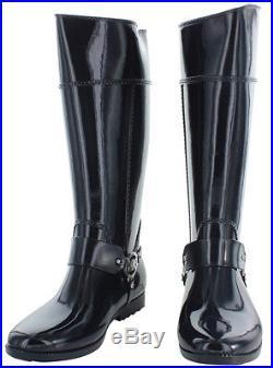 NWOB Women's Size 8-M Michael Kors Navy Blue Rubber Fulton Harness Rain Boots