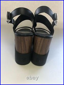 NWOT Michael Kors Rhett Wedge Black Leather Sandals Size 10M Wood Accents
