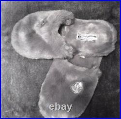 NWT Michael Kors Grey Silver Jet Set Women's Faux Fur Slippers Slipon Shoes $110