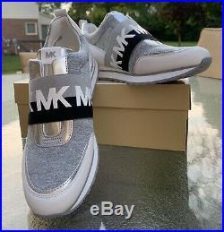 NWT Michael Kors Teddi Slip-On Trainer Shoes White Grey Black Shoes Size 8.5