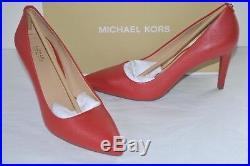 New $110 Michael Kors Dorothy Flex Pump Bright Red Leather Classic Heel sz 7