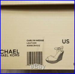 New $120 Michael Kors Carlyn Wedge leather blue or red heel Sandal MK Shoes