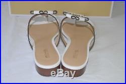 New $130 Michael Kors Tara Thong Optic White Leather Sandal Floral Design sz 9