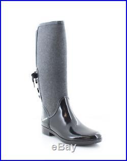 New $175 Michael Kors Larson Flannel / Rubber Black Rainboots Boots Size 8